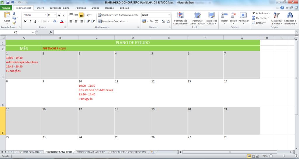 plano de estudo com cronograma fixo