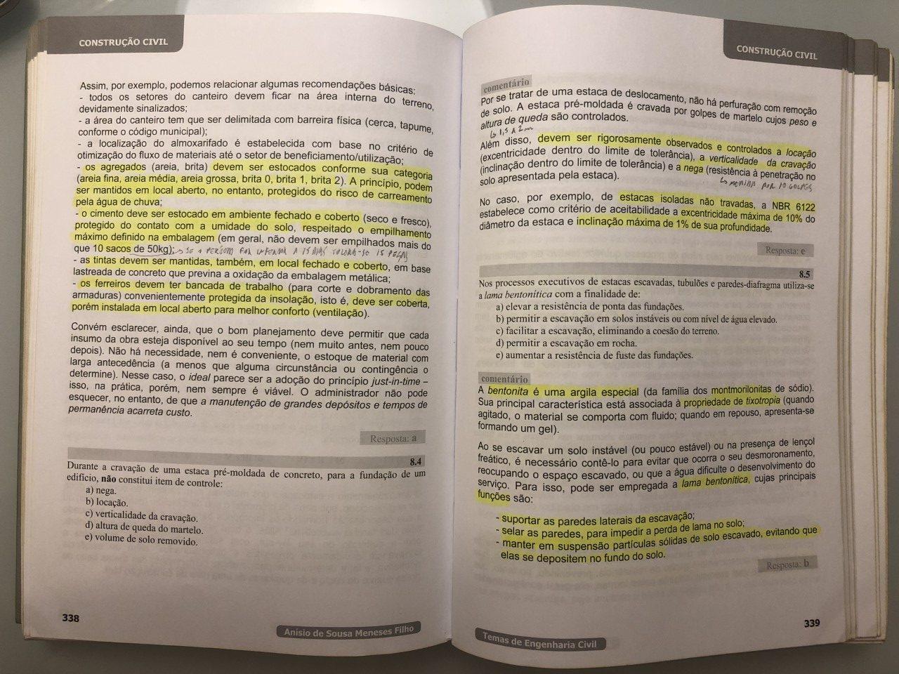 Anotações - livro de engenharia civil para concursos